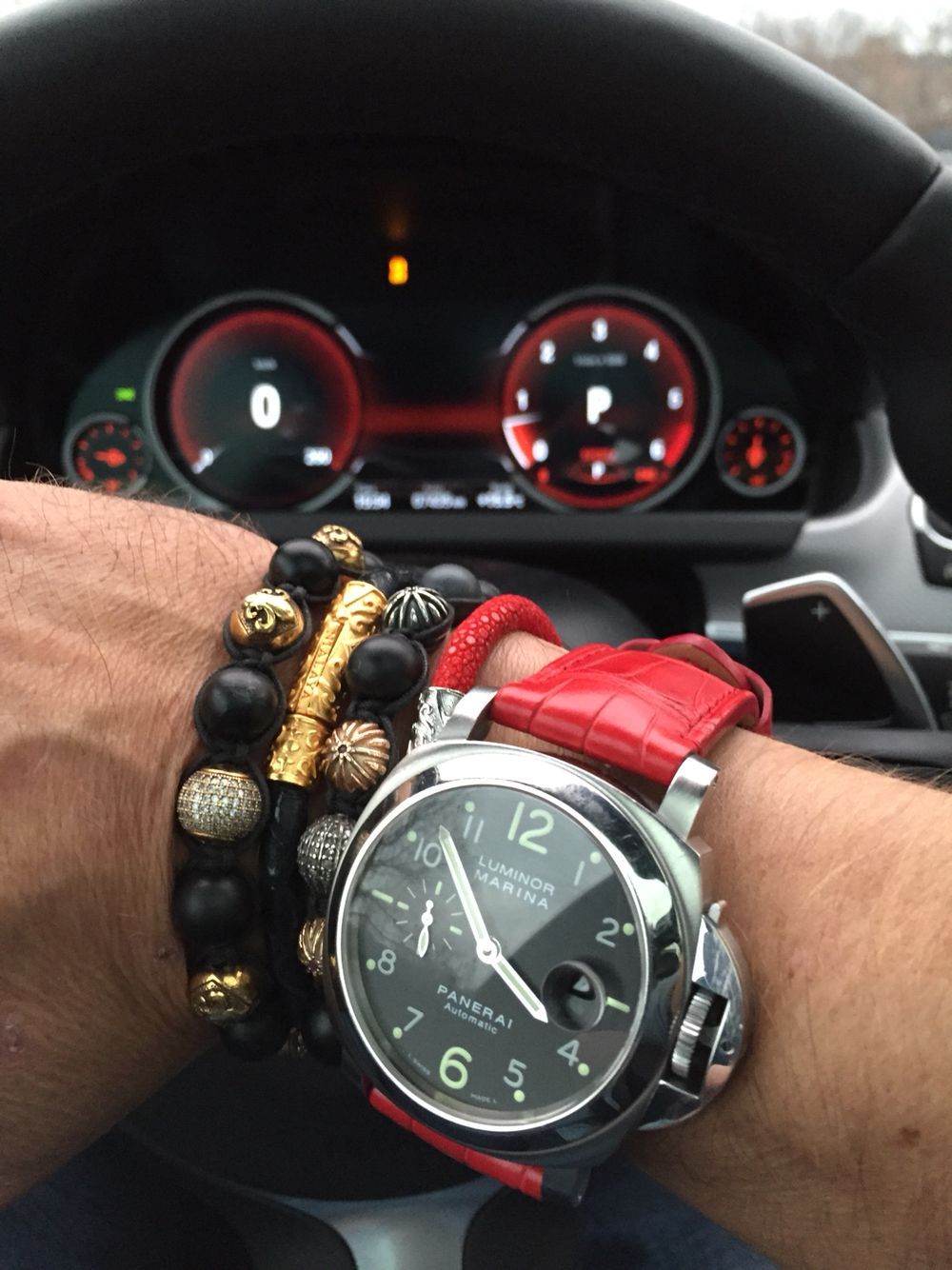 All red, with my Panerai, Nialaya bracelets and the BMW ...