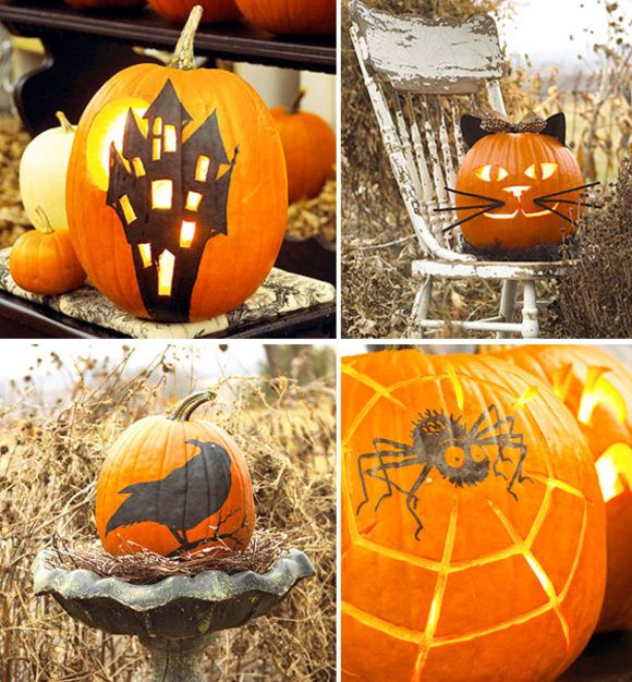 Easy} Halloween Pumpkins When black cats prowl and pumpkins gleam - easy halloween pumpkin ideas
