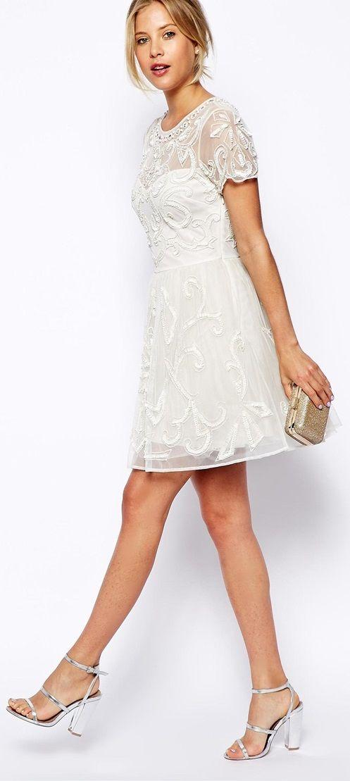 Pretty white embellished skater dress.black dresses,two piece ...