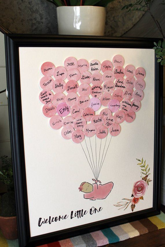 Baby Shower Guest Sign-In - Guest Book Alternative Baby Girl - Watercolor