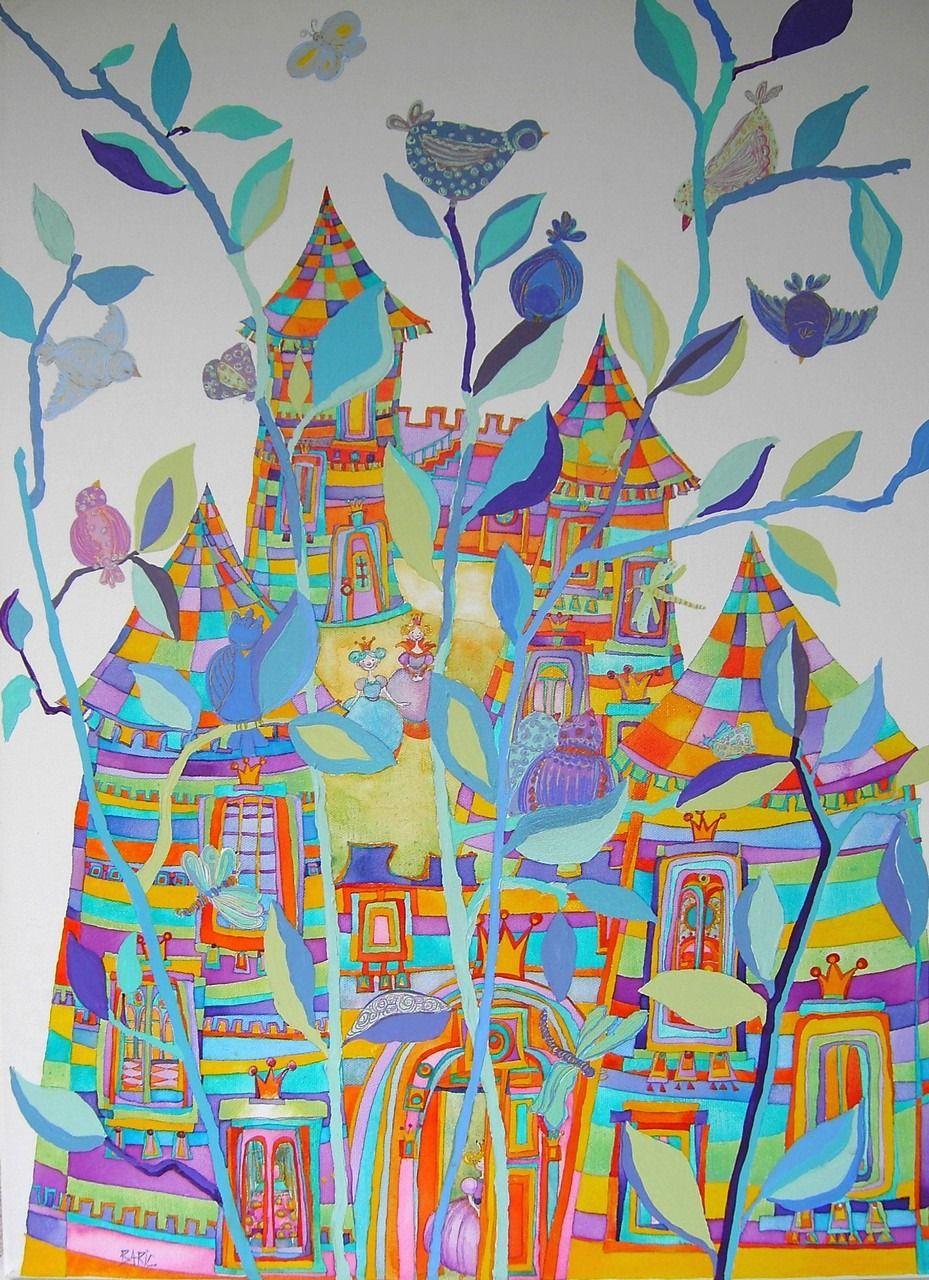 Peinture Acrylique Tableau Fees Et Rires Trois Princesses Et