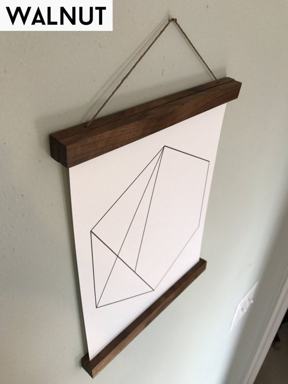Use Solid Wood And Strong Rare Earth Neodymium Magnets To Frame Your Beautiful Artwork By Clamping It At The Top Bottom Made Out Of Walnut