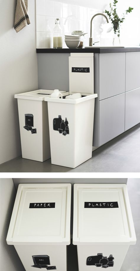 two large white bins next to a kitchen counter are labeled for recycling recycling bins on kitchen organization recycling id=53701