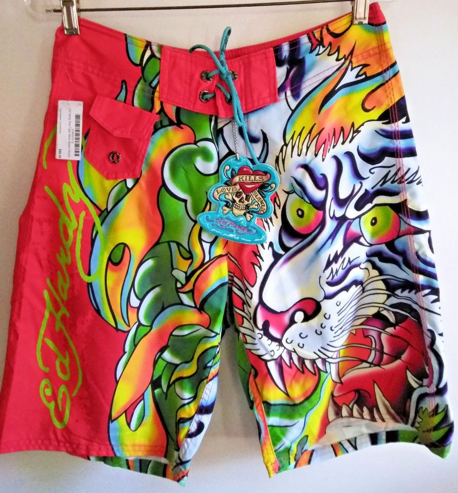0150677b7e Ed Hardy Surf or Die Red Tiger Face Love Kills Slowly Board Shorts Size 30  NWT #EdHardy #BoardShorts