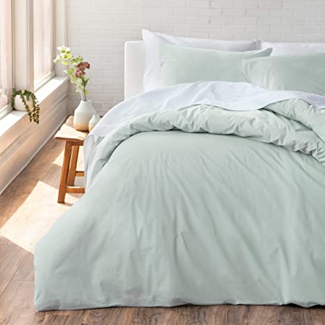 Amazon Com Welhome Cozy 100 Cotton Percale Washed Reversible Duvet Cover Set Full Queen Size S Green Comforter Bedroom Mint Green Bedroom Duvet Cover Sets