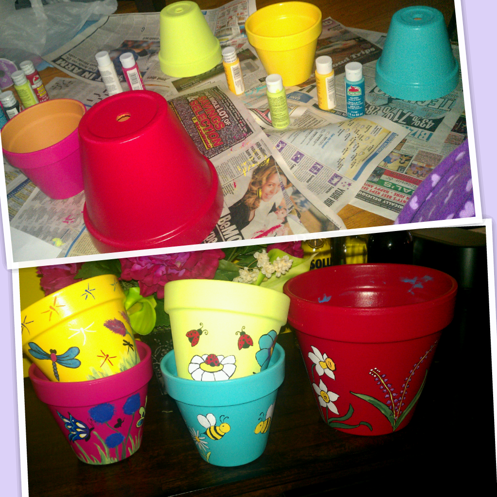 Tipsy flower pot in the making, Wanted colorful pots with designs on ...