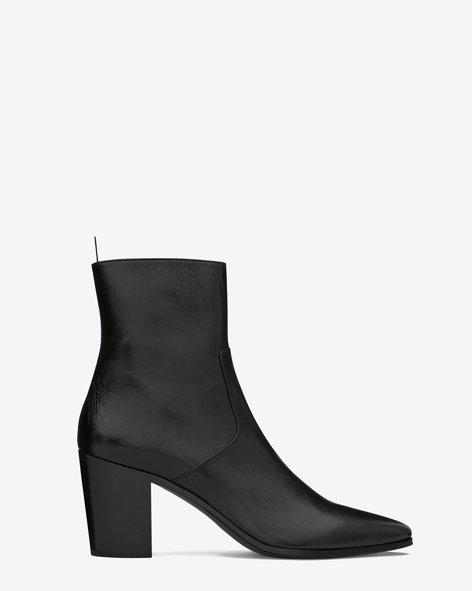 af5594dce7 Saint Laurent FRENCH 85 Zipped BOOT IN BLACK CRACKED Shiny LEATHER ...