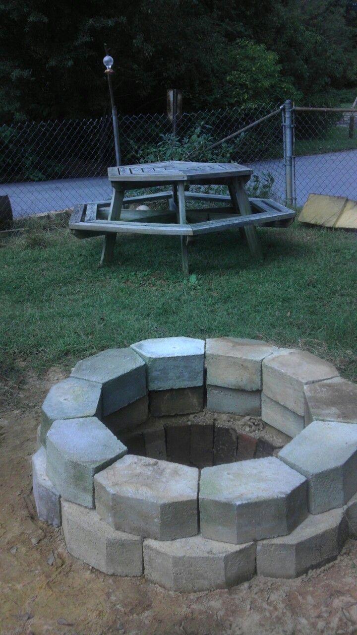 Fire pit,: dig a hole about 1 & 1/2 feet deep, 3 feet ...