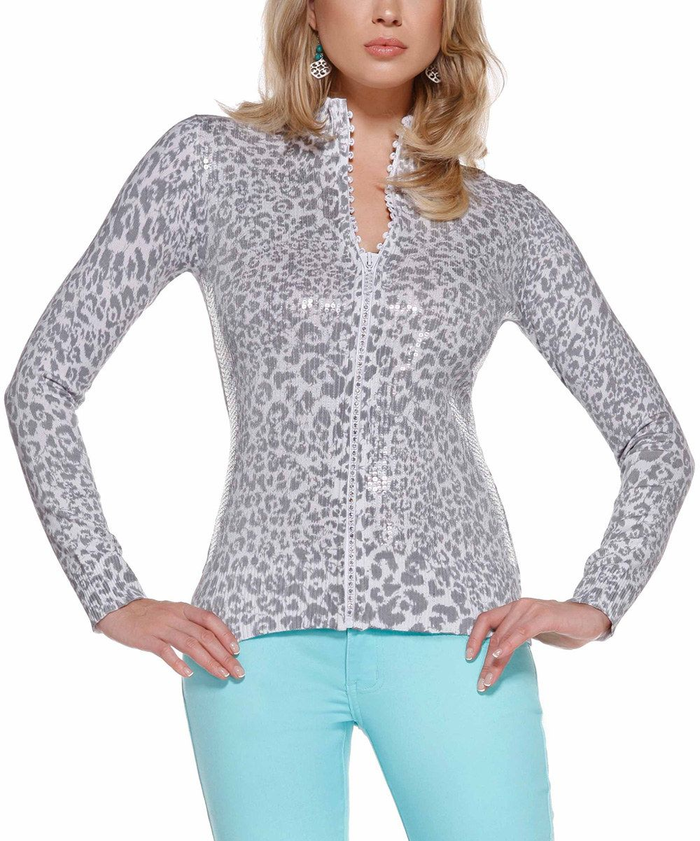 Look at this Belldini Pearl Gray Leopard Sequined Zip-Up Cardigan on #zulily today!