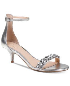 Silver Evening Shoes Kitten Heel