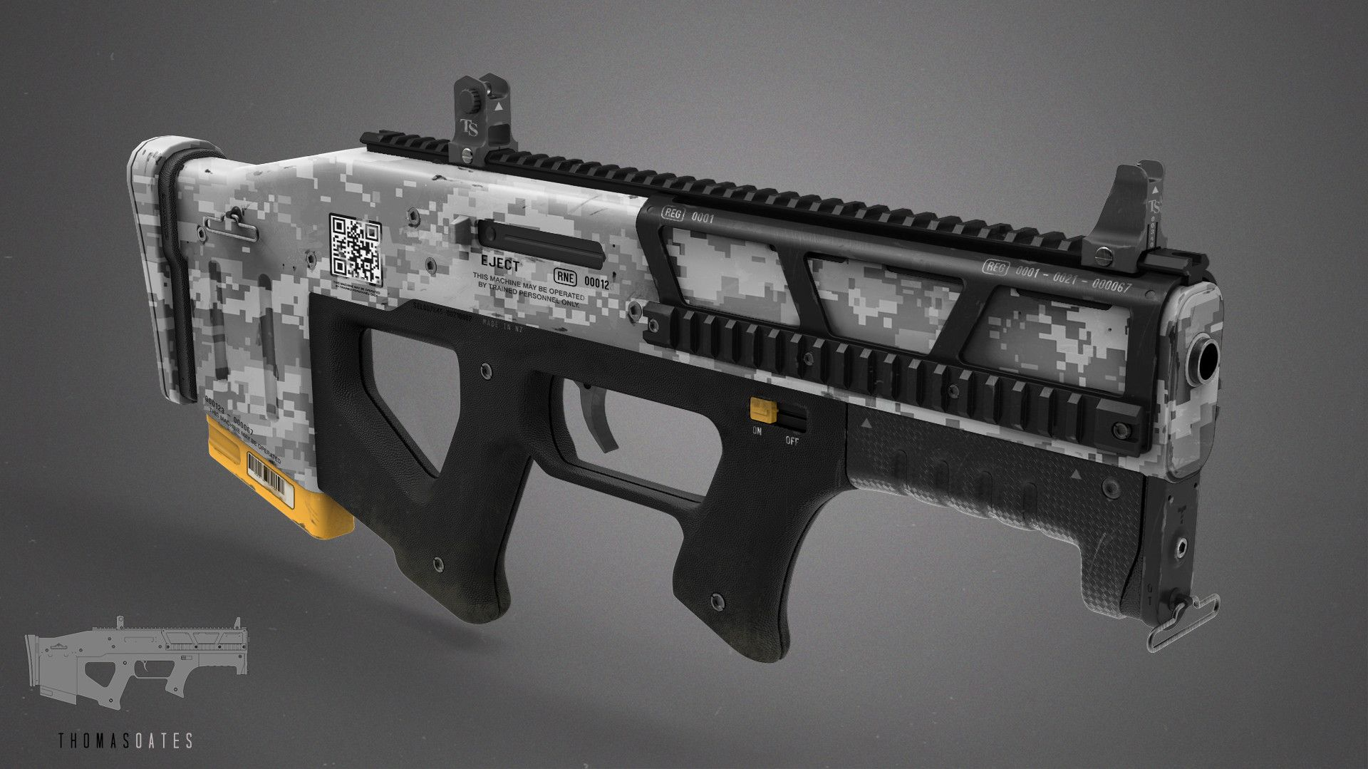 Design for a compact pistol. Ammo cartridge feeds bullets upwards within the case.    Initial design in 2D then modelled in MODO and MOI, finished in Photoshop.