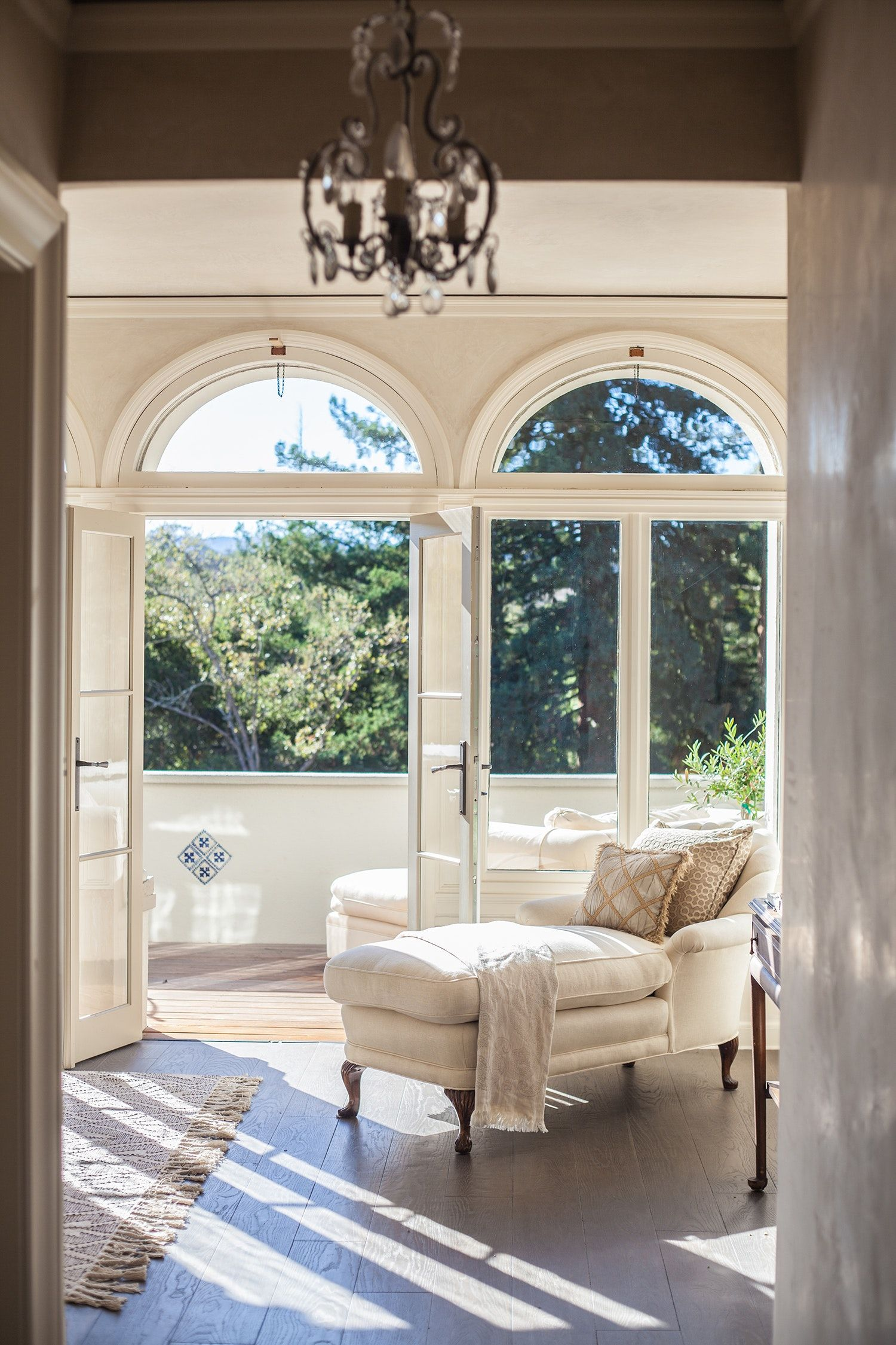 Italianate Living Room And Patio Arched French Doors I