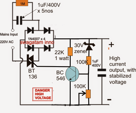 The Post Explains An Innovative Transformerless Power Supply Circuit Which May Be Used For Hi Power Supply Circuit Circuit Projects Electronic Circuit Projects