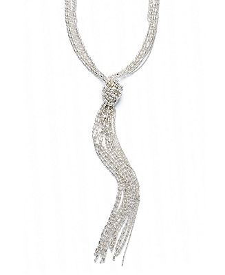1d158d7d9 Alfani Necklace, Silver-Tone Shot Bead Lariat - Fashion Jewelry - Jewelry &  Watches - Macy's