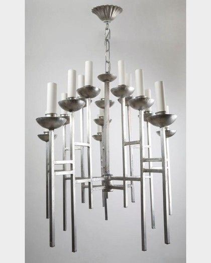 Circa 1960s silver and steel chandelier. Available at Remains Lighting Los  Angeles. - Circa 1960s Silver And Steel Chandelier. Available At Remains