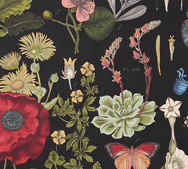 Fabric By The Yard Poppy Botanical Potterybarn Floral Wallpaper Bedroom Black Floral Wallpaper Floral Upholstery Fabric