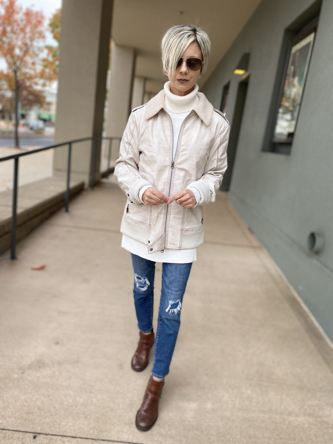 Simple and Chic ~ vintage washed aviator jacket