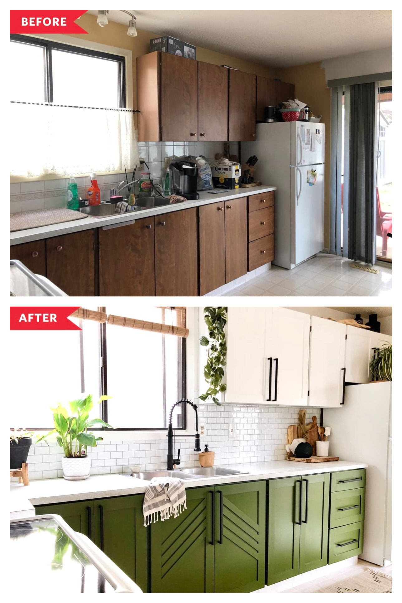 Before And After Budget Upgrades Totally Transformed This Kitchen And Its Dark Wood Cabinets In 2020 Home Remodeling Home Kitchens Home