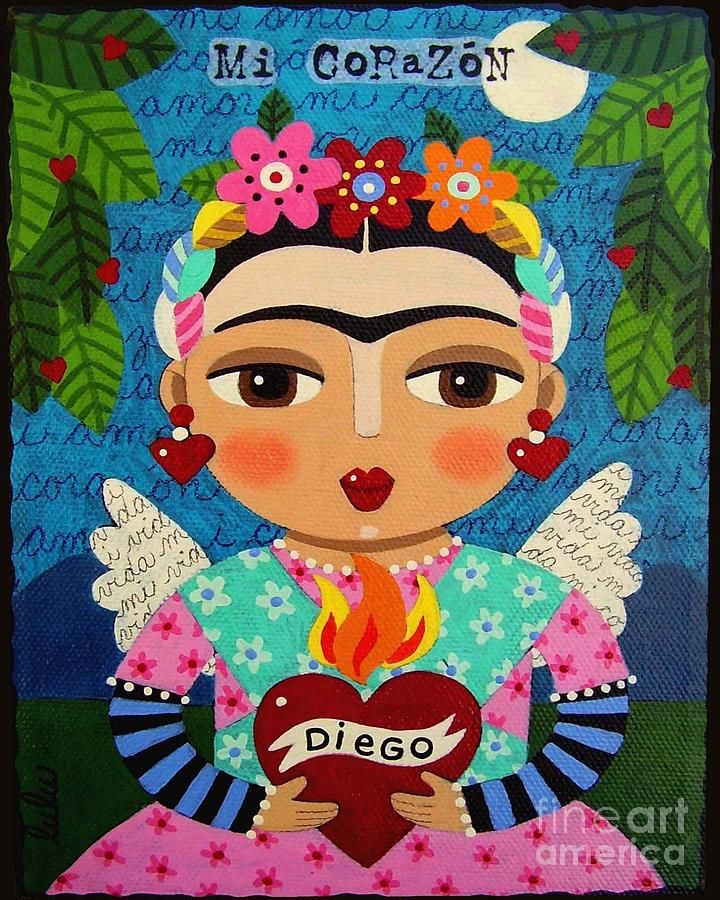 Frida Kahlo Angel And Flaming Heart Painting By LuLu Mypinkturtle
