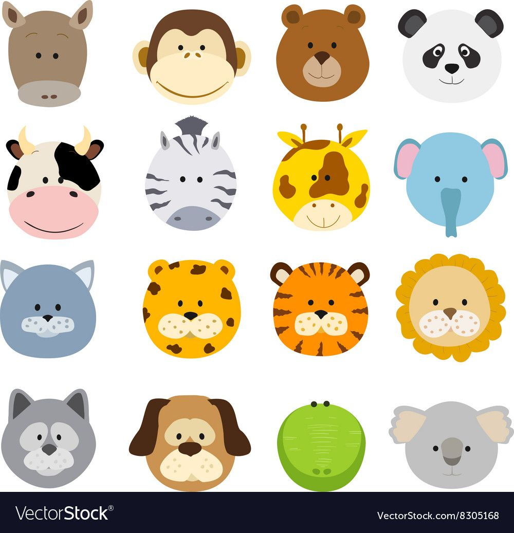 Set Of Cartoon Animals Faces Collection Of Cute Jungle And Other Baby Animal Faces Download A Free Preview Or Baby Jungle Animals Cartoon Animals Animal Faces