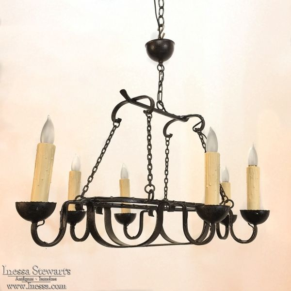 Antique Rustic Country French Wrought Iron Chandelier Iron