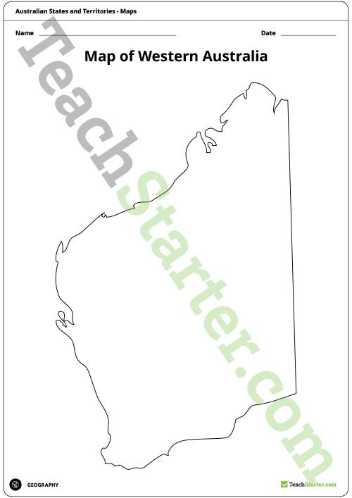 teaching resource a blank map of western australia to use during geography lessons