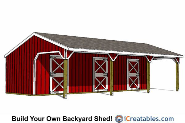 12x36 3 Stall Horse Barn With Cantilever | Small Horse Barns