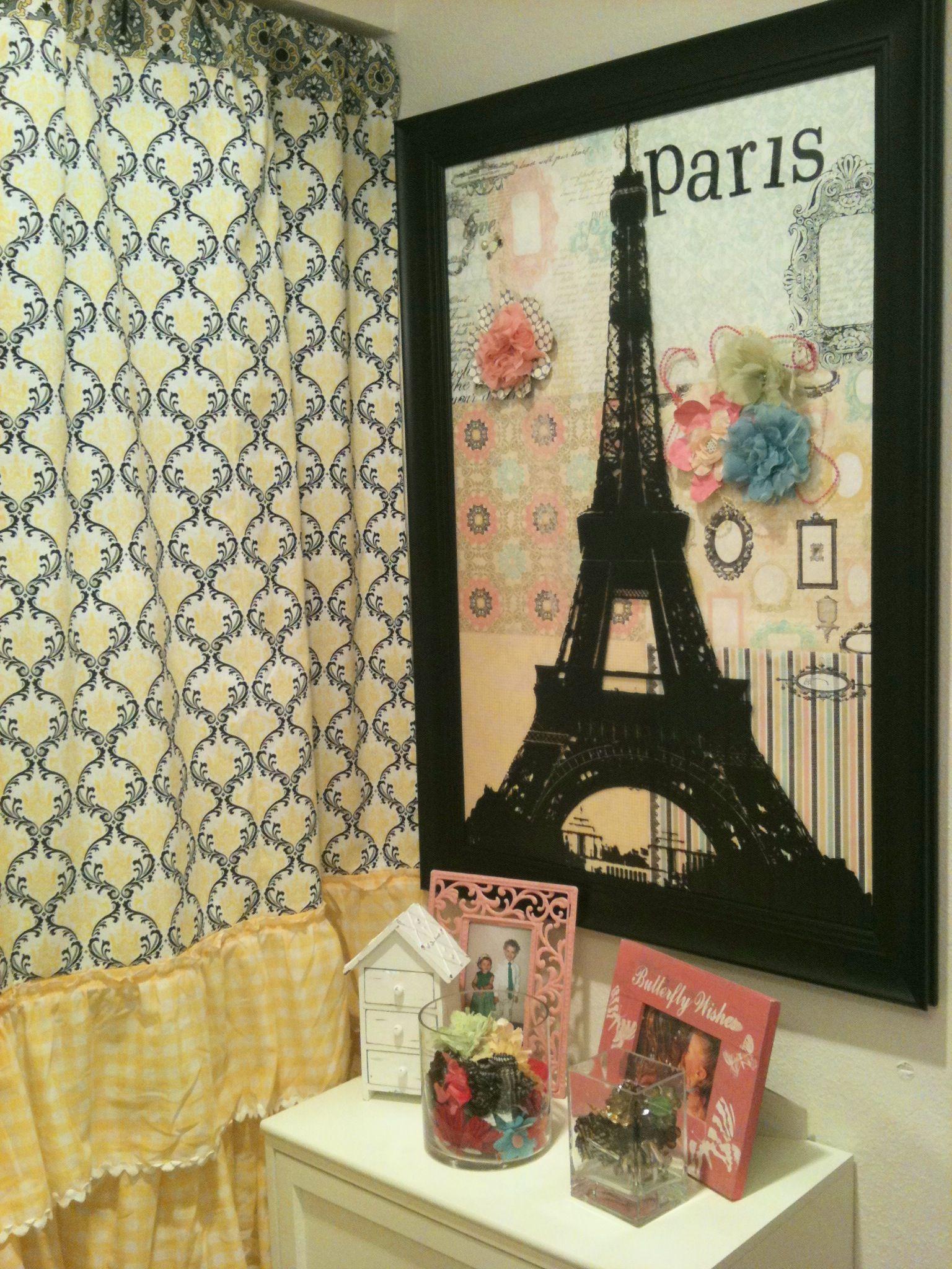 Scrapbook paper eiffel tower - Paris Art Made From A Frame And Scrapbook Paper Vinyl Eiffel Tower Decal And 3d