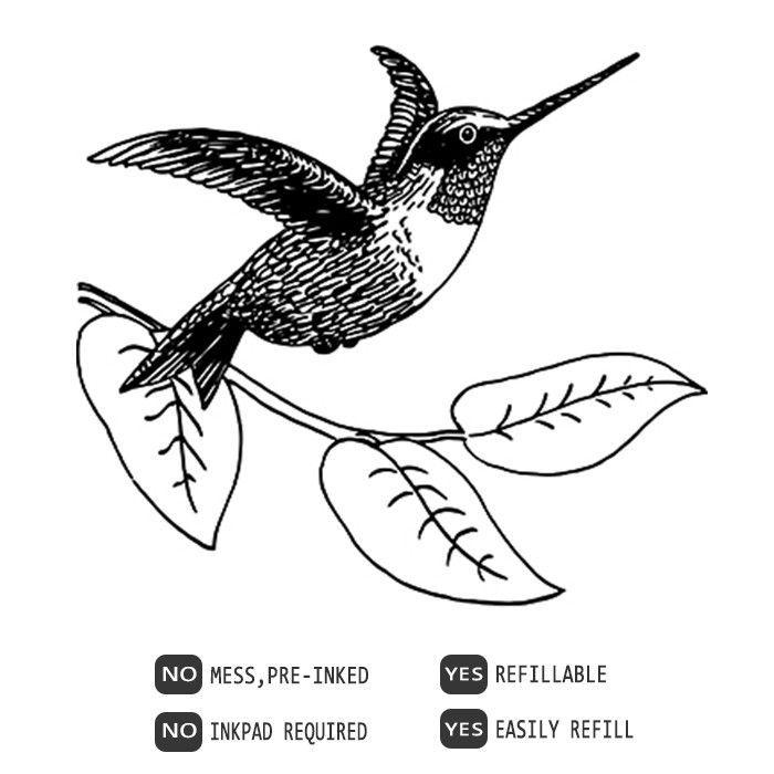 Hummingbird, Bird pre-inked rubber stamp, 620130