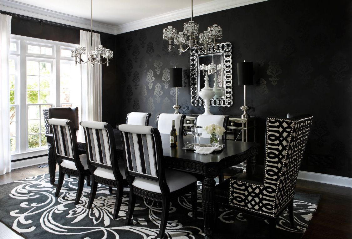 Art Deco Dining Room In Black And White Black And White Dining Room Luxury Dining Room Black Dining Room