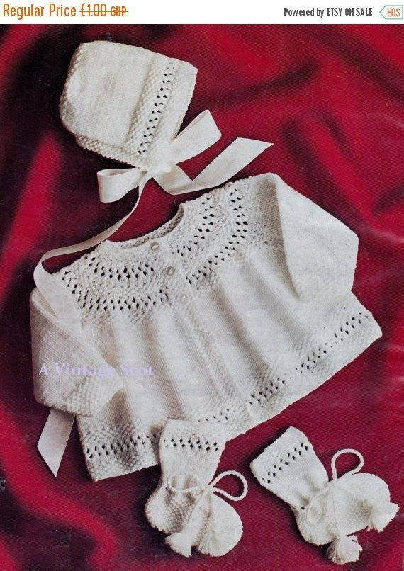 0dc31cb07 Baby 4ply Matinee Jacket Bonnet   Bootees for sizes 17 - 19 ins ...