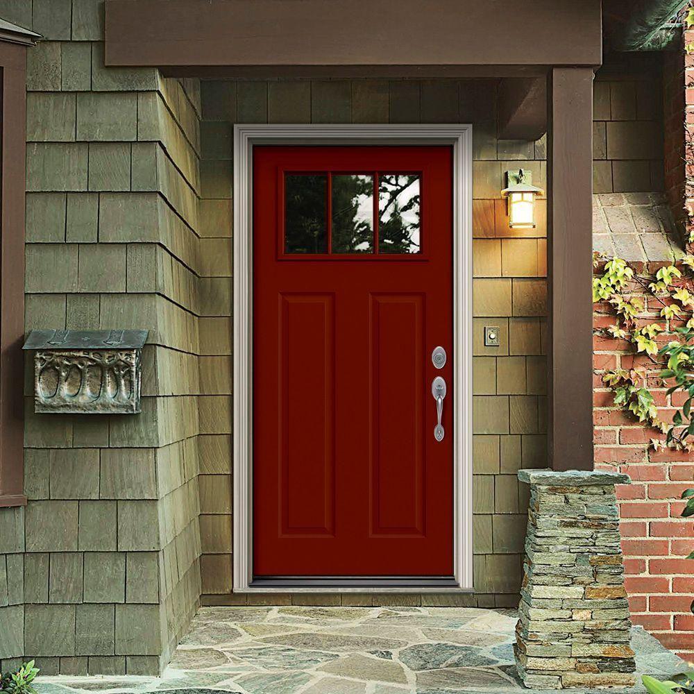 JELD WEN 34 In. X 80 In. 3 Lite Craftsman Mesa Red Painted Steel Prehung  Left Hand Outswing Front Door W/Brickmould