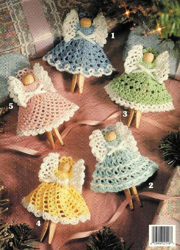 Christmas Clothespin Angels Crochet Ornament Patterns Pinterest