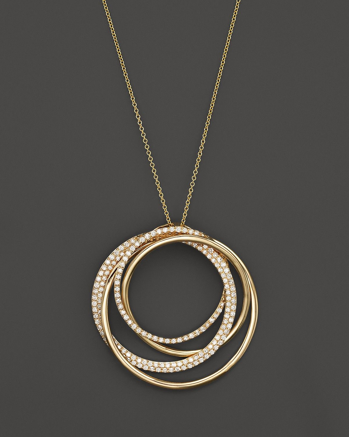 Diamond Overlapping Circle Pendant Necklace In 14k Yellow Gold 70 Ct T W Circle Pendant Necklace Diamond Jewelry Necklace Pendant Necklace Simple