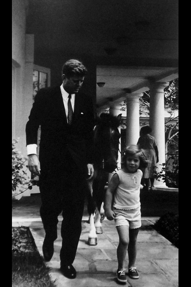 JFK, Caroline, and Macaroni (The perfect name for the First Pony). One afternoon, JFK saw Caroline riding Macaroni and encouraged her to bring him into the Oval Office. She did and Macaroni left a nice big present on the carpet!