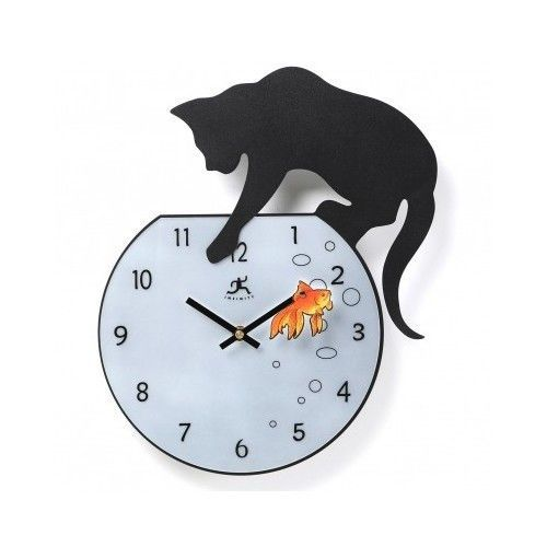 Wall Clock Clocks Cat Unique Decorative Novelty Kitchen WatchesTime Fisher Fish