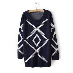 Vintage Scoop Neck Geometric Pattern Loose-Fitting Women's Swearter (NAVY,ONE SIZE) | Vintage Sweaters