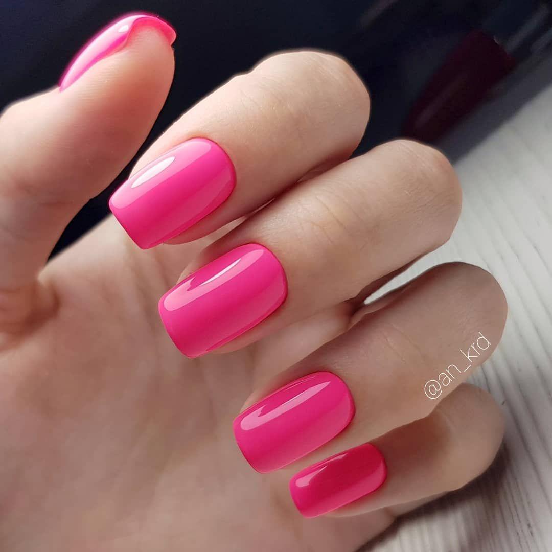 Bright pink nail art design