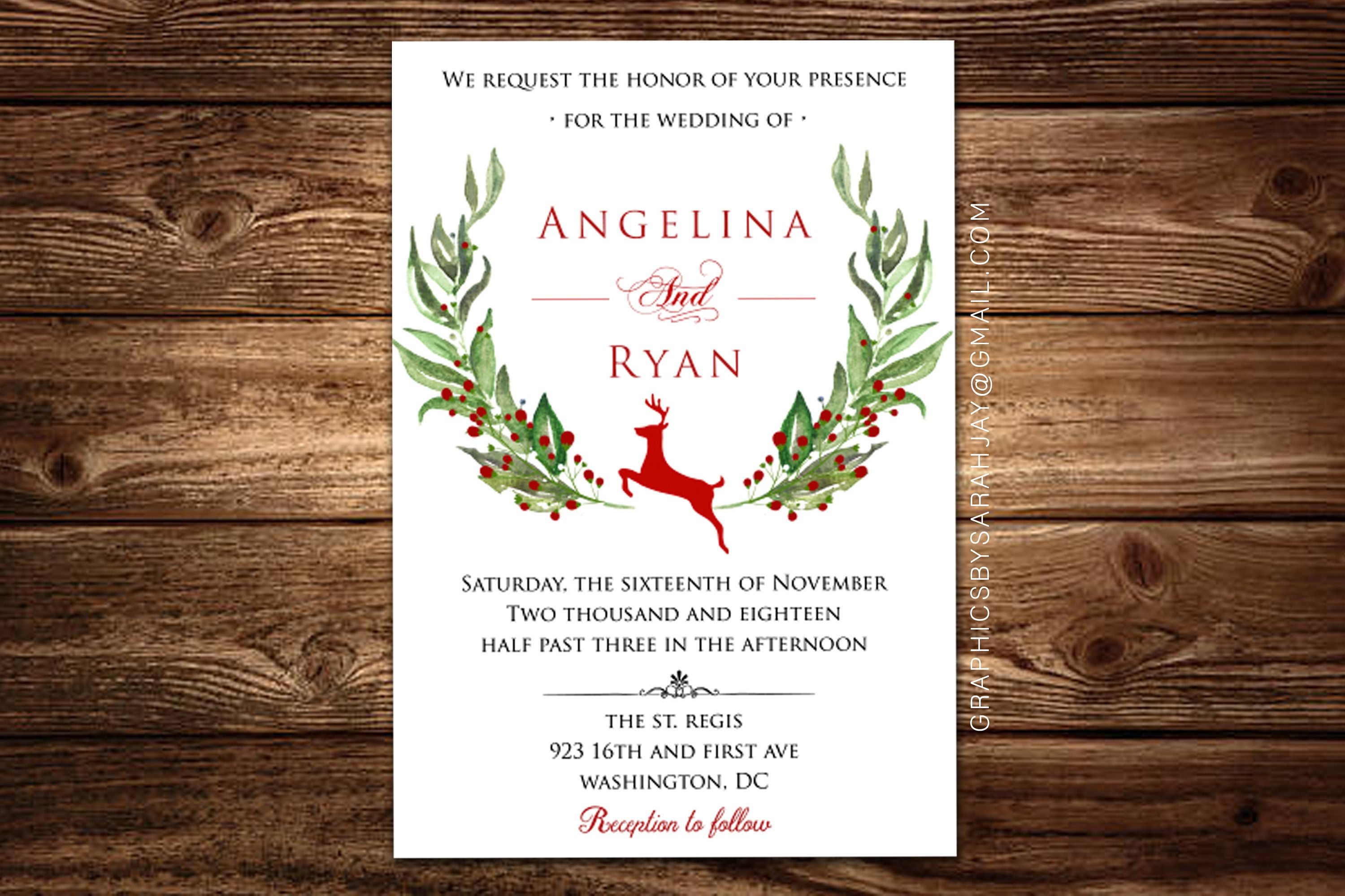 Rustic Christmas Wedding Invitation Card Holiday Party Invite Customizable Baby Shower Invite Seasonal Winter Wedding Holiday Wedding Invitations Christmas Wedding Invitations Wedding Invitation Cards