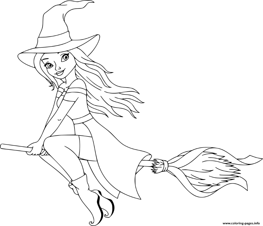 Print Cute Witch Barbie Coloring Pages Witch Coloring Pages Free Halloween Coloring Pages Halloween Coloring Sheets