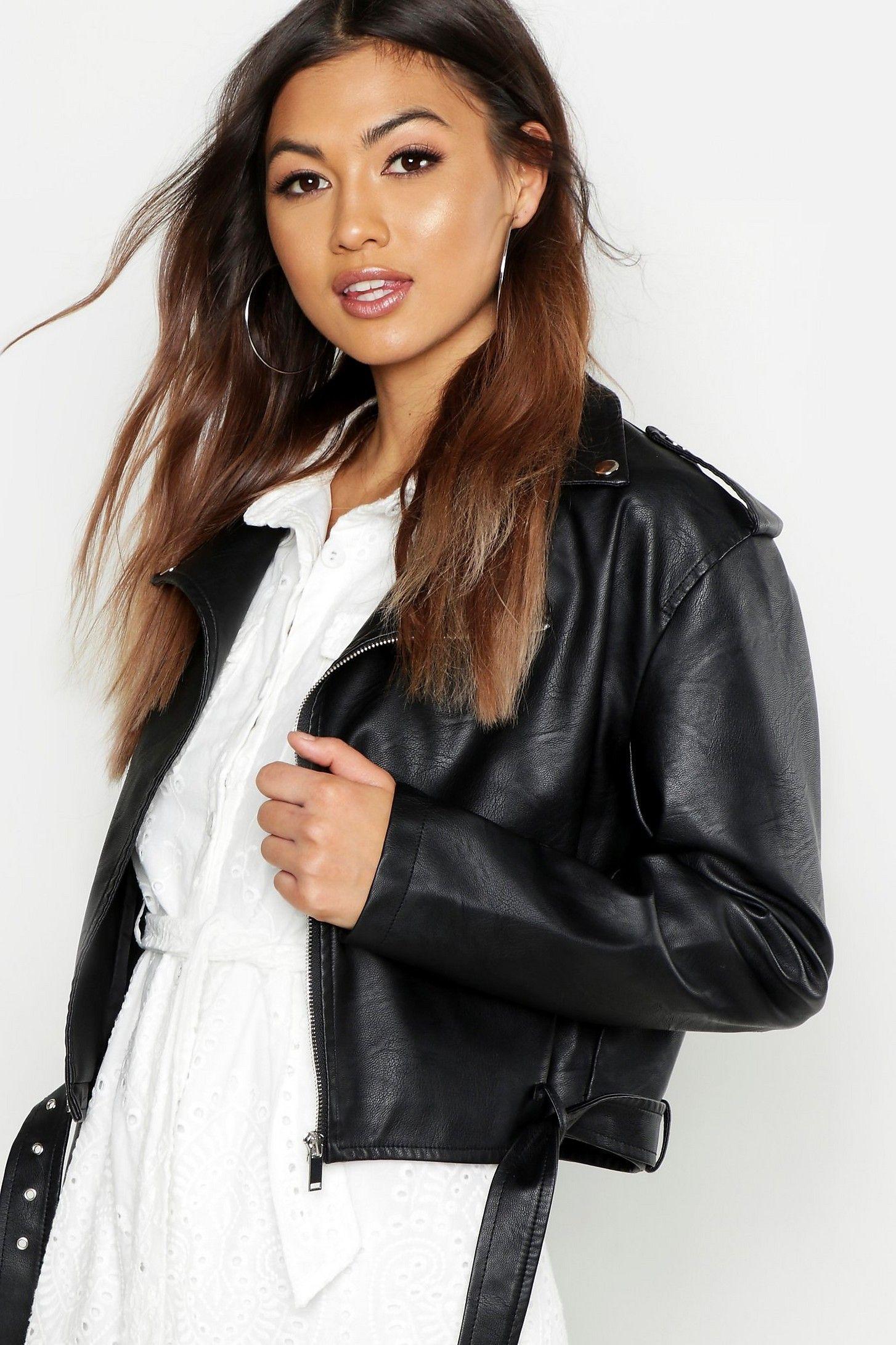 Boxy Crop Biker Jacket boohoo Australia Jackets, Women
