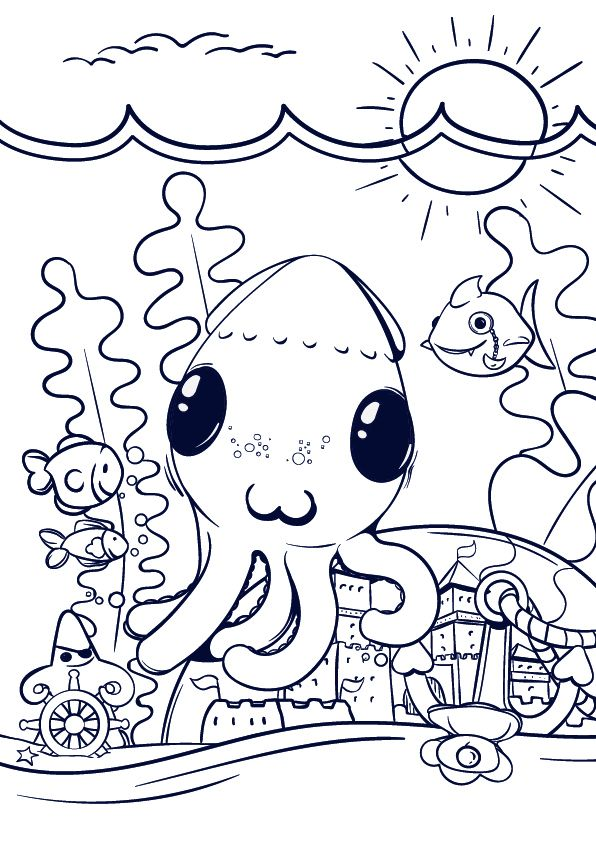 learn how to draw an octopus cartoon scene step by step tutorial