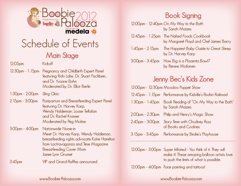 2012 Schedule Of Events Boobie Palooza 2012 Baby Shower Program Baby Shower Planner Free Baby Shower