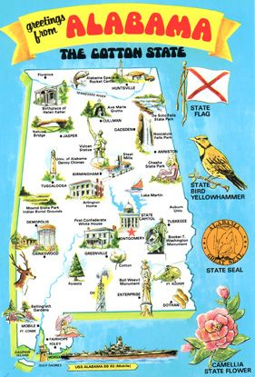 Alabama The Cotton State U S State Map Shapes