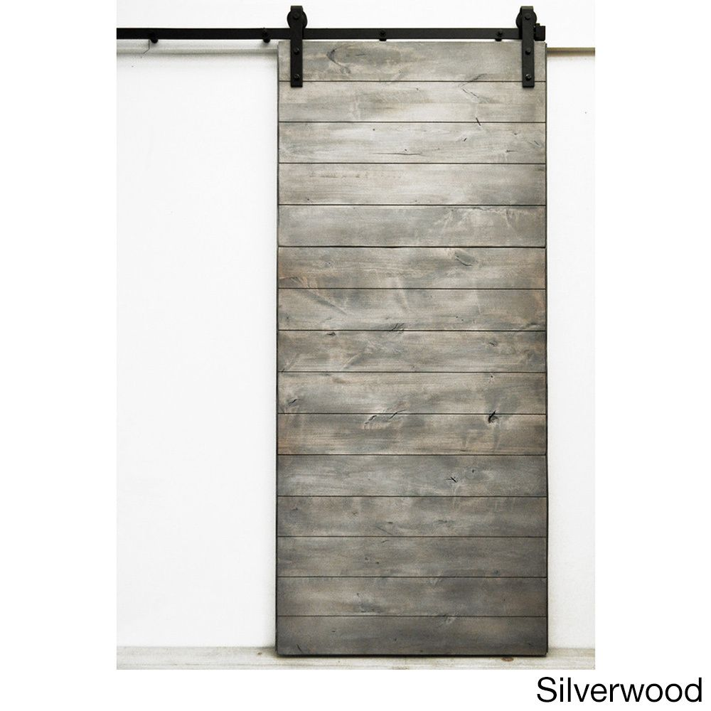 Dogberry Laude 96 Inch Barn Door Silverwood Stain Grey