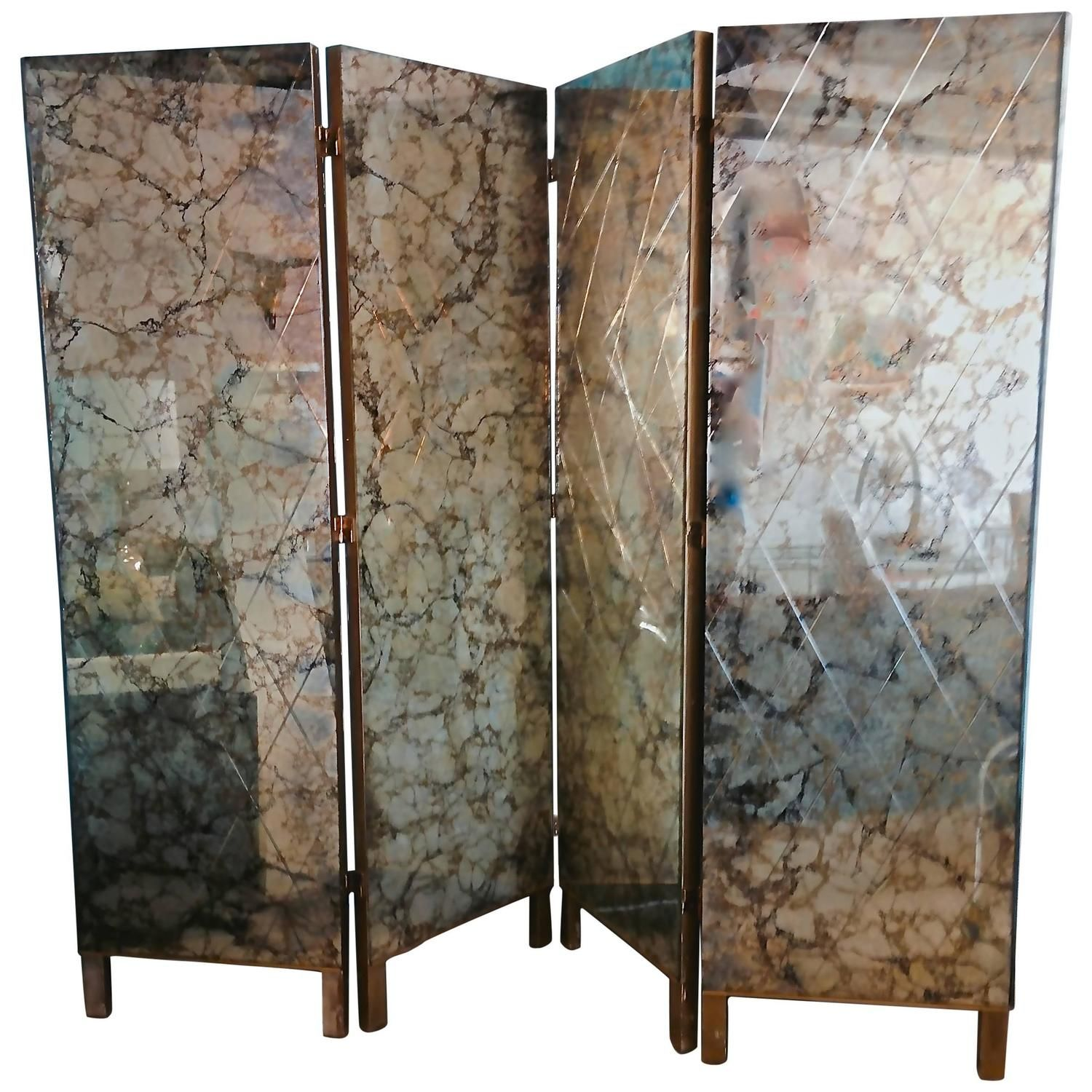 1950s Four Panel Verre glomis Mirror Screen Room Divider From