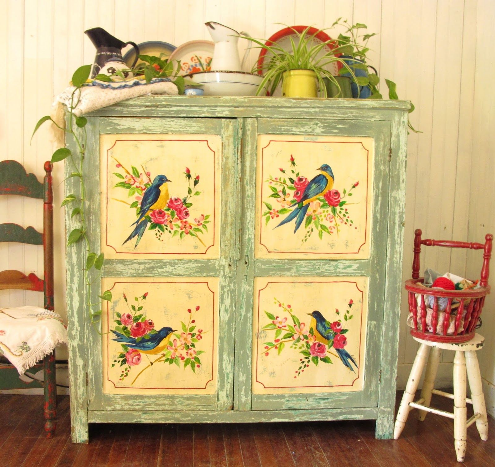 Mesita De Luz Tipo Provenzal Painting Furniturefurniture Redofurniture Ideaspastel Colorspaint