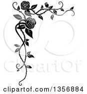 clipart of a black and white corner floral rose vine border design
