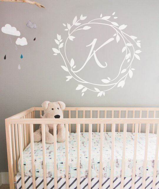 Custom Monogram Wall Decals Nursery Wall Name Decal Personalized - Custom vinyl wall decals nursery