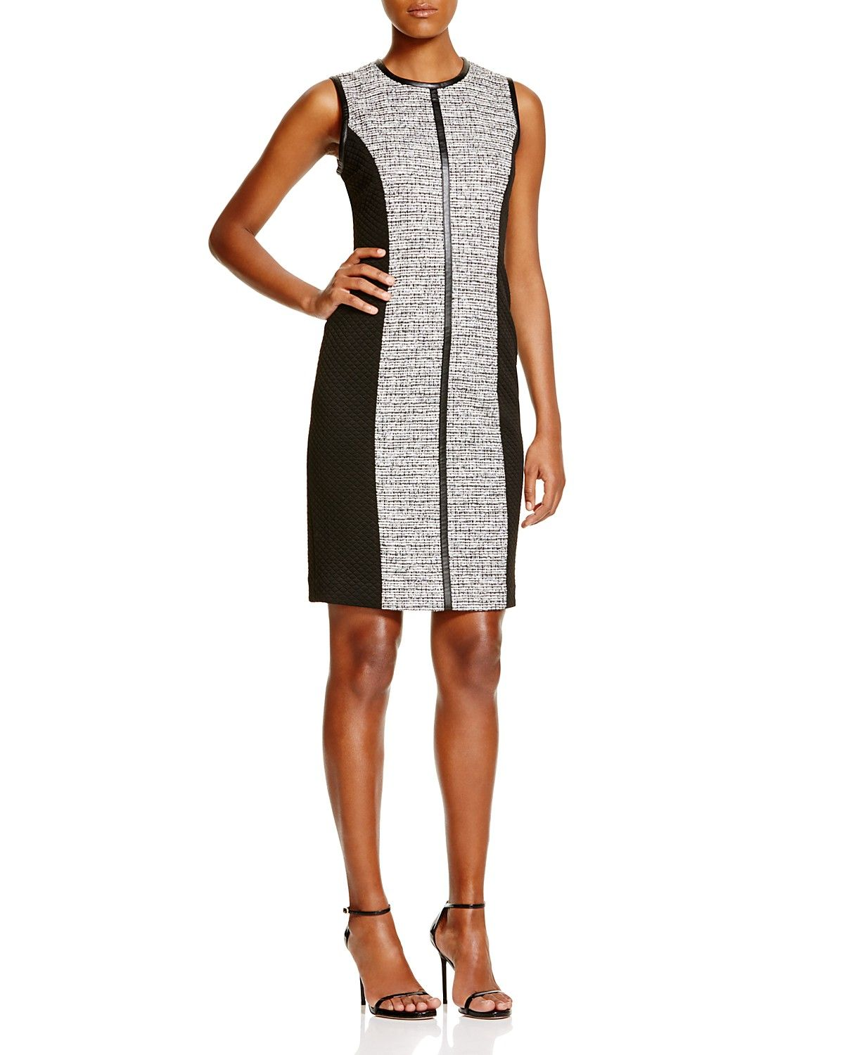 e53756c7beb Calvin Klein Paneled Tweed Sheath Dress
